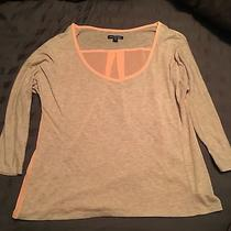 American Eagle Top Medium Tan Bright Orange Coral Sheer Dressy Photo