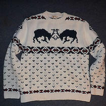 American Eagle Vintage Wool Nordic Ski Snow Reindeer Sweater L Photo