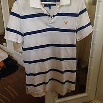 American Eagle White/blue Stripes Polo Shirt Size S Photo