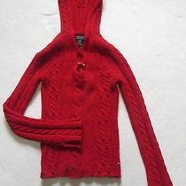American Eagle Women's 100% Lambs Wool L/s Hooded Sweater - Solid Red - Size Xs Photo