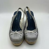 American Eagle Women's Blue Striped Slingback Wedge Heel Size 7w Photo