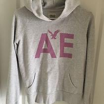 American Eagle Women's Hoodie Gray Pink Size Small Photo