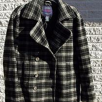 American Eagle Women's Small Pea Coat Wool Blend Jacket Black & White Plaid Photo