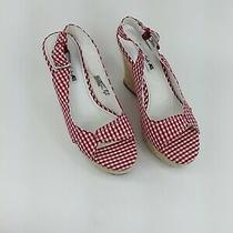 American Eagle Women's Wedge Shoes 4-in Wedge Red-White Checked Photo