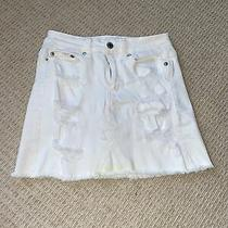 American Eagle Women's White Distressed Short Denim Jean Skirt Sz 00 Photo