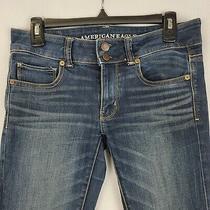 American Eagle Womens Artist Crop Capri Jeans Super Stretch Blue Size 4 Photo