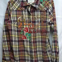 American Eagle Womens Flannel Check 54' Vintage Havana Shirt Sz L Gr8 Stitching Photo