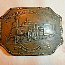 American Express Brass Belt Buckle -Train Locomotive - Colorado -Tiffany Studio Photo