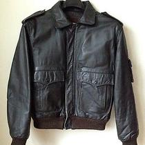 American Express Men's Brown Distressed Leather Flight Bomber Jacket Sz 44 Photo