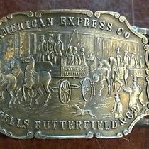 American Express Wells Butterfield Horse Wagon Scene Vintage Belt Buckle Photo