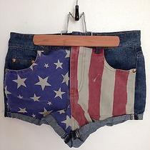 American Flag Denim Shorts Small 0 Patriotic Photo