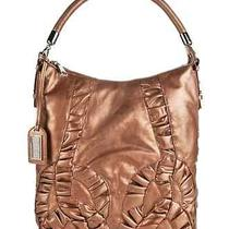 American Glamour Badgley Mischka Leather Hobo With Ruching New Copper Photo