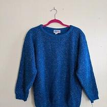 American Pride Blue Sparkle Women's Sweater Vintage 90s Made in Usa Medium Photo