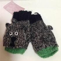 American Rag Bear Fingerless Knit Mittens Grey Juniors One Size New With Tag Photo