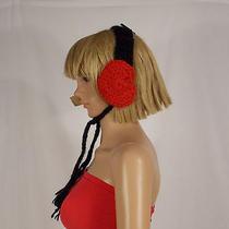American Rag Black Red Heart Ear Muffs Ear Warmers Crochet One Size New 29  Photo