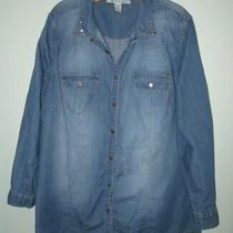 American Rag Blue Chambray Snap Front Shirt Stud Detail Women 3x Tunic Top Photo