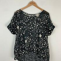 American Rag Cie Black Star Print Short Sleeve Open Sheer Back Shirt Top 0x Plus Photo