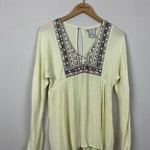 American Rag Cie Ivory Embroidered Long Sleeve Keyhole v-Neck Shirt Top Medium M Photo