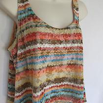 American Rag Cie Sleeveless Knit Top Sz M Multi Color Stripe Burnout Flaw Cute  Photo