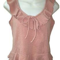 American Rag Cie Top Womens Ruffled Top Pink Blush Peplum Skirt Cropped Top -M Photo