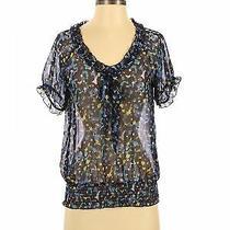 American Rag Cie Women Blue Short Sleeve Blouse Xs Photo