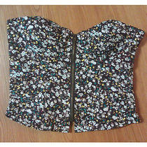 American Rag Floral Bustier With Boning Womens Juniors Crop Top Large  Photo