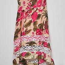 American Rag Floral Print Dress High Low Hem Lace Spaghetti Strap  Size M Photo