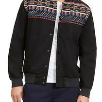 American Rag Mens Jacket Black Size 2xl Jacquard Tribal Embroider Bomber 90 028 Photo