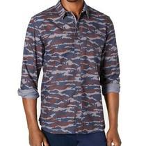 American Rag Mens Shirt Blue Size Small S Camo Print Pocket Button Up 45 044 Photo