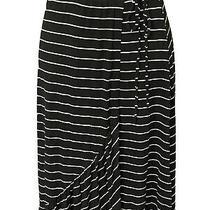 American Rag Women's Long Stretch Waist Black White Stripe Skirt    S    New Photo