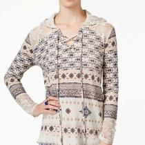 American Rag Women's Printed Lace-Inset Hoodie Sizexs Photo