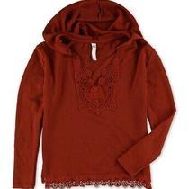 American Rag Womens Crochet Trim Hoodie Sweatshirt Brown X-Small Photo