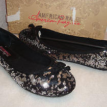 American Rag Womens Nwb Lolly Black Pewter Glitter Flats Shoes 9.5 Med New Photo
