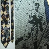 American Sports Classics Blue Tan Vtg Baseball Cards Ball Glove Silk Necktie Tie Photo