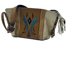 American West Brown & Turquoise Tooled Leather Womens Western Hobo Style Purse Photo