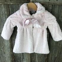 American Widgeon Infant Girls Faux Fur Coat 12m Blush Pink With Bow Photo