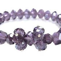 Amethyst Single Strand Double Element Crystal Bracelet Photo