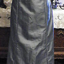 Amsale Blue Taffeta Long Formal Evening Bridesmaids Dress  12 Photo