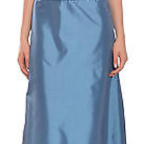 Amsale Elegant Steel Blue Pleated Taffeta a-Line Evening Gown Dress 10 New Photo