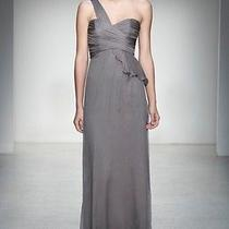 Amsale One Shoulder Peplum Chiffon Gown in Graphite 310 Size 2 Photo