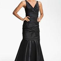 Amsale Ruched Taffeta Mermaid Gown Dress Sz 8 - Black Photo