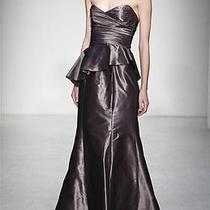 Amsale Strapless Peplum Trumpet Taffeta Dress Gown 12 (Thistle) Photo