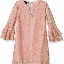 Amy Byer Girls Dress Classic Blush Pink Size 16 Tiered Ruffle Sleeve 39- 263 Photo