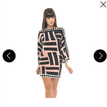 Analili Abriella Bodycon Geometric Deep v Back Dress Sz Xs Black White & Blush Photo