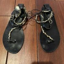 Ancient Greek Black Leather Sandals With Silver Beads Size 41 Photo