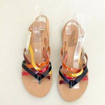 Ancient Greek Rainbow Strappy Flat Open Toe Slingback Sandals 37 Photo