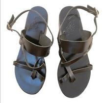 Ancient Greek Sandals Black Leather Buckle Closure Size 8. Excellent Preowned Photo