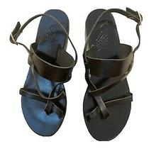 Ancient Greek Sandals Black Leather Strappy Flats Sandals Handmade in Greece - 7 Photo