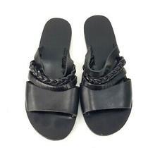 Ancient Greek Sandals Black Leather Strappy Slides Flats Shoes Size 36 Photo