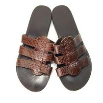 Ancient Greek Sandals Brown Alligator Leather Strappy Slides Flats Shoes Size 36 Photo